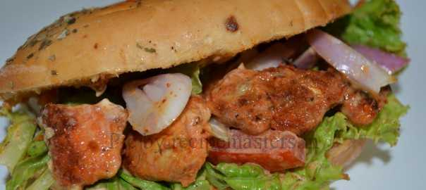 chicken bread roll sandwich